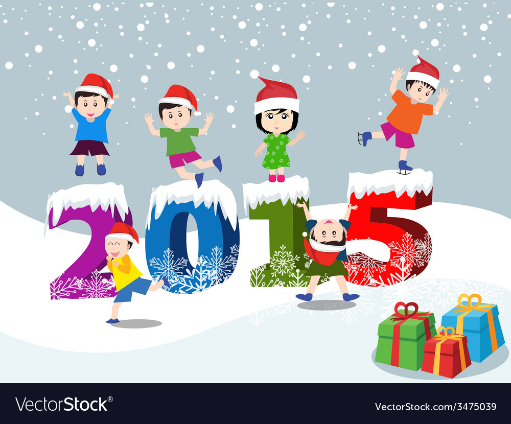 Merry christmas and happy new year 2015 with happy vector | Price: 1 Credit (USD $1)