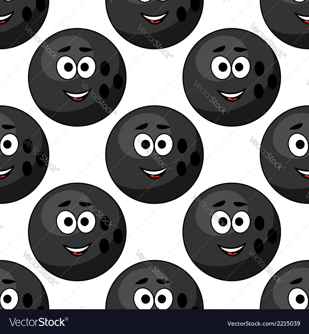 Seamless pattern of cartoon bowling balls vector | Price: 1 Credit (USD $1)