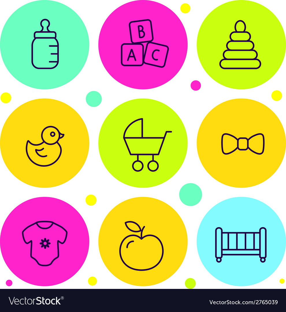Set of icons baby goods vector | Price: 1 Credit (USD $1)