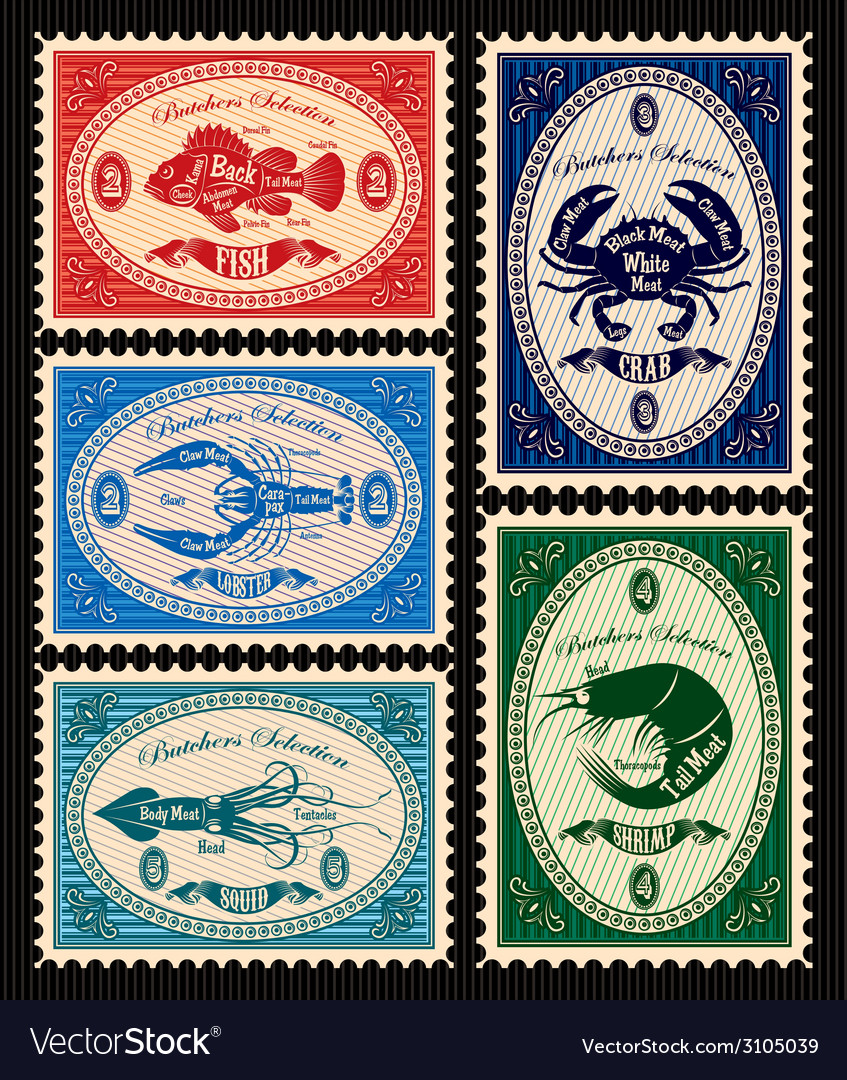 Set of postage stamps with seafood vector | Price: 1 Credit (USD $1)