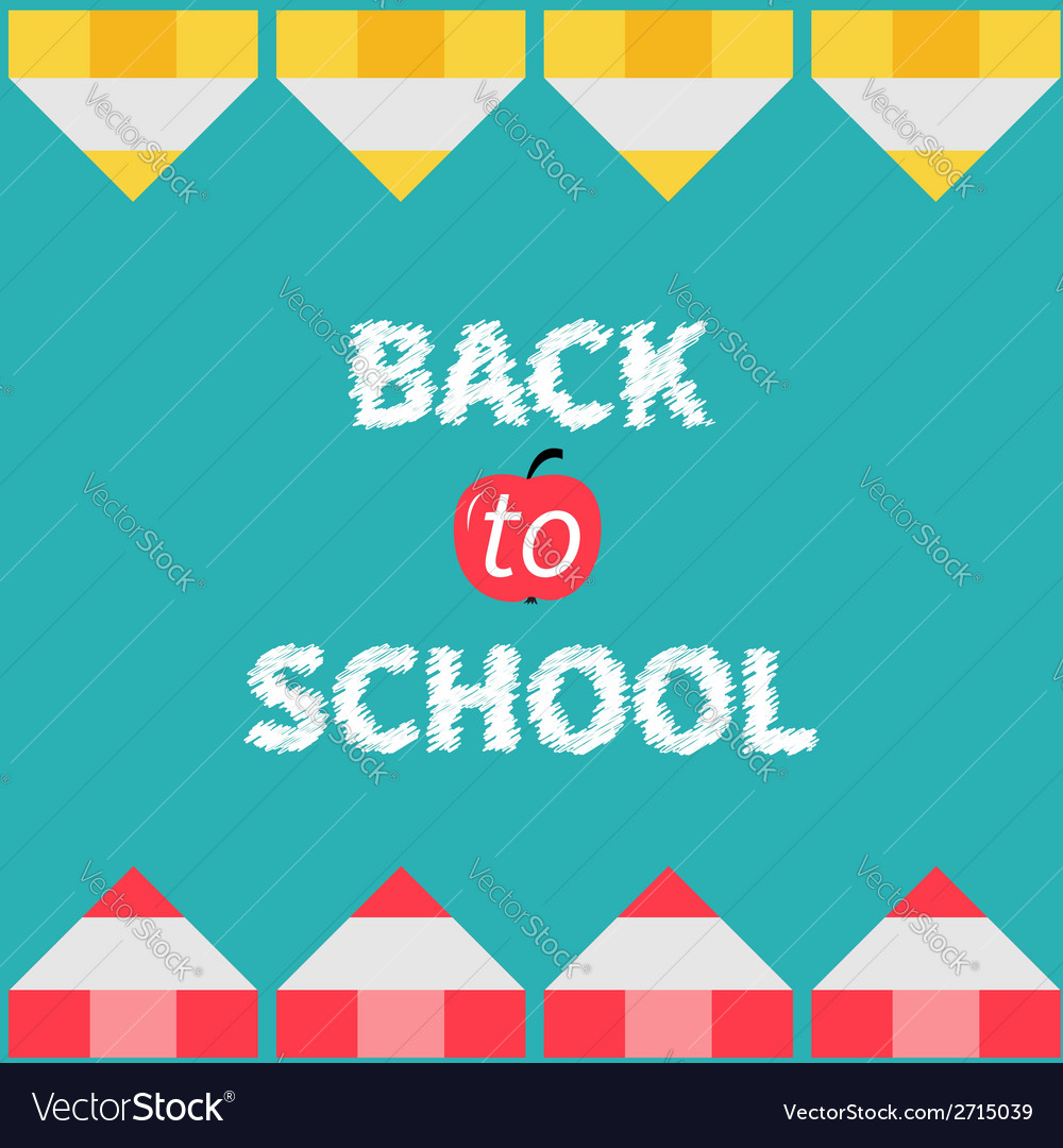 Yellow and red pencil frame back to school card vector | Price: 1 Credit (USD $1)