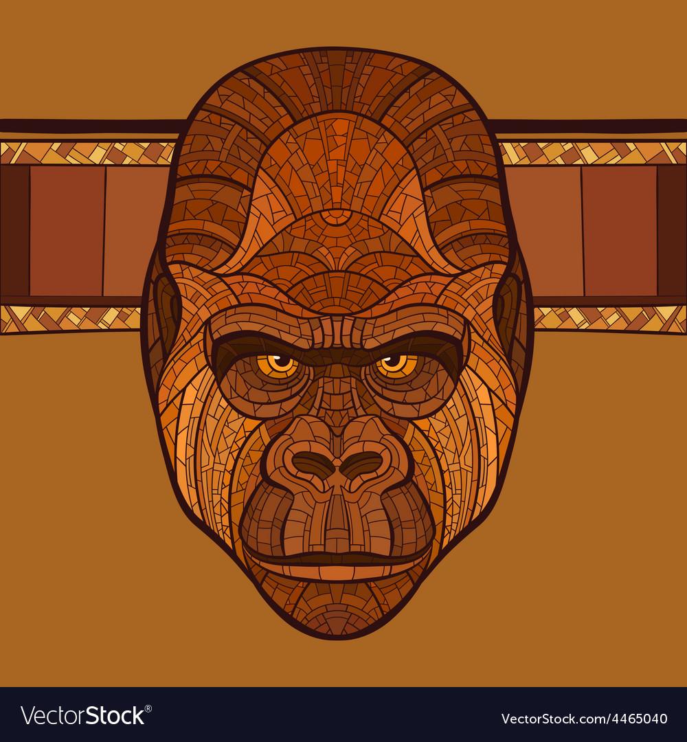 Ape gorilla head with ethnic ornament vector | Price: 1 Credit (USD $1)