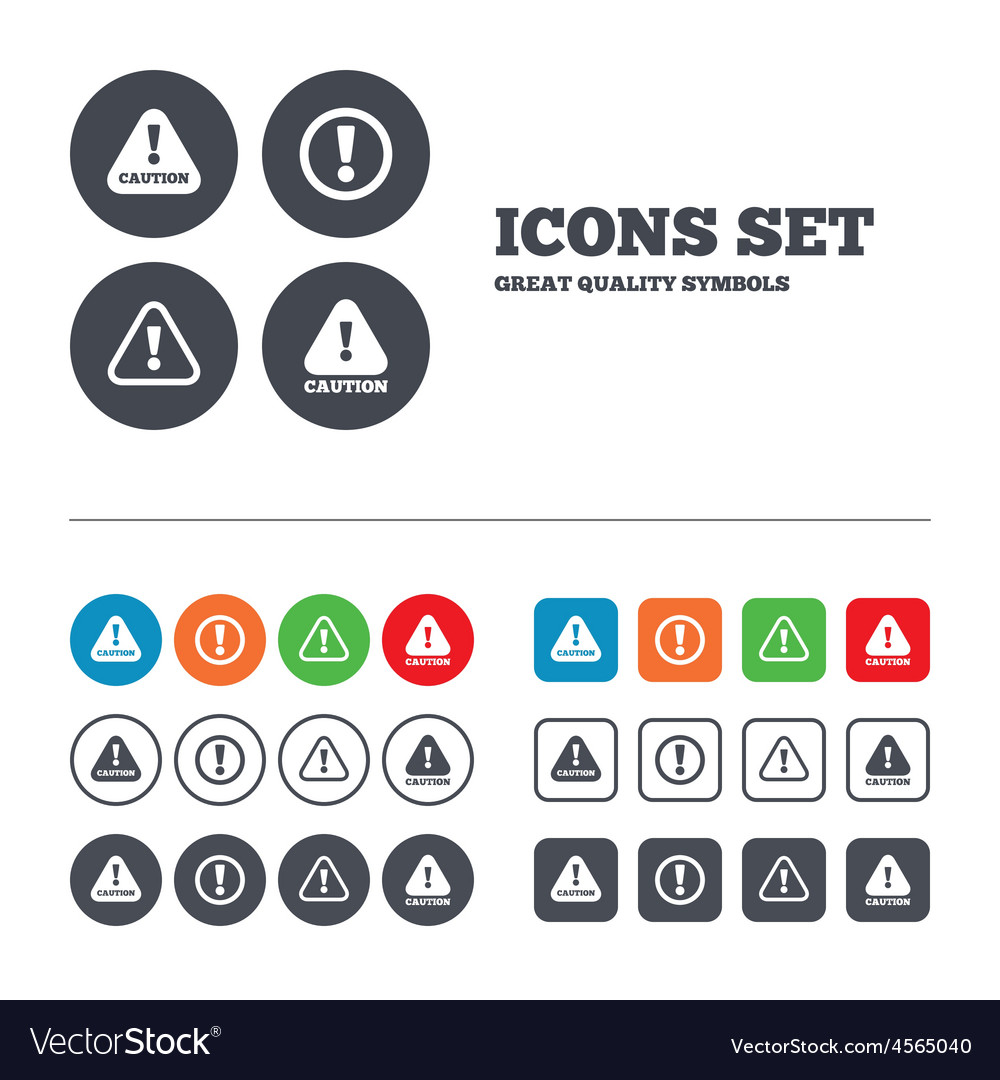 Attention caution signs hazard warning icons vector | Price: 1 Credit (USD $1)