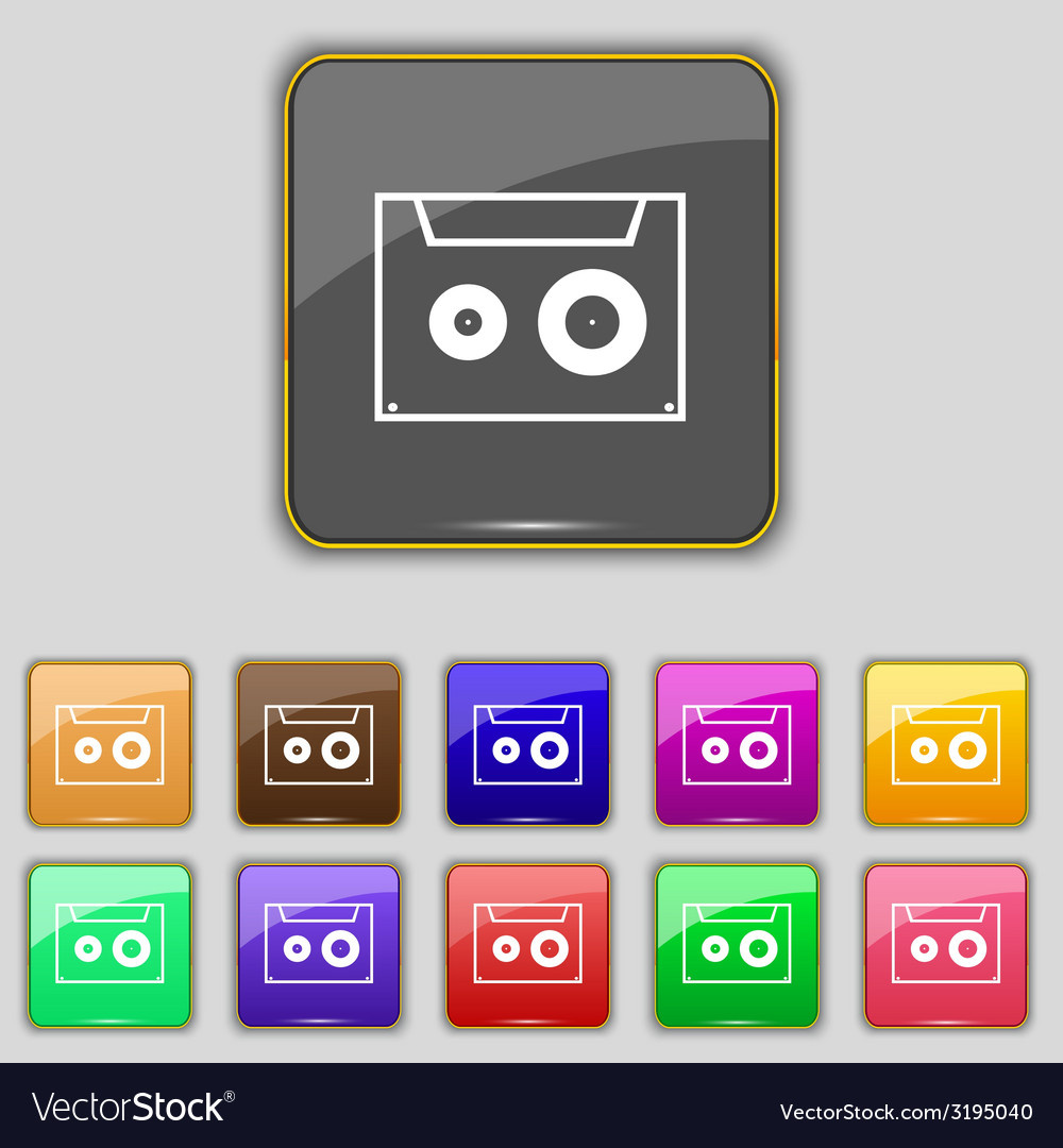 Cassette sign icon audiocassette symbol set of vector | Price: 1 Credit (USD $1)