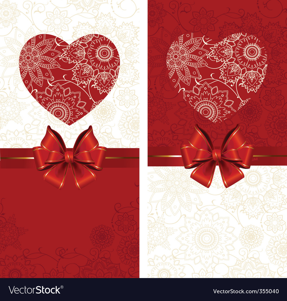 Celebrate bow background with heart vector | Price: 1 Credit (USD $1)