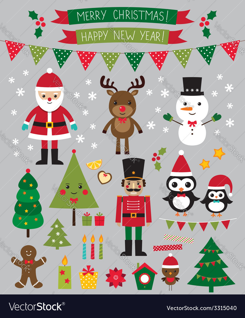 Christmas characters and design elements se vector