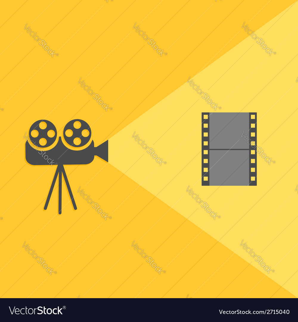 Cinema projector with light and film flat design vector | Price: 1 Credit (USD $1)