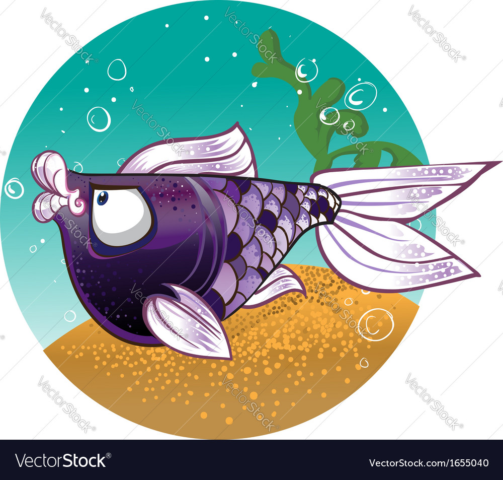 Dark violet fish on the bacground vector | Price: 3 Credit (USD $3)