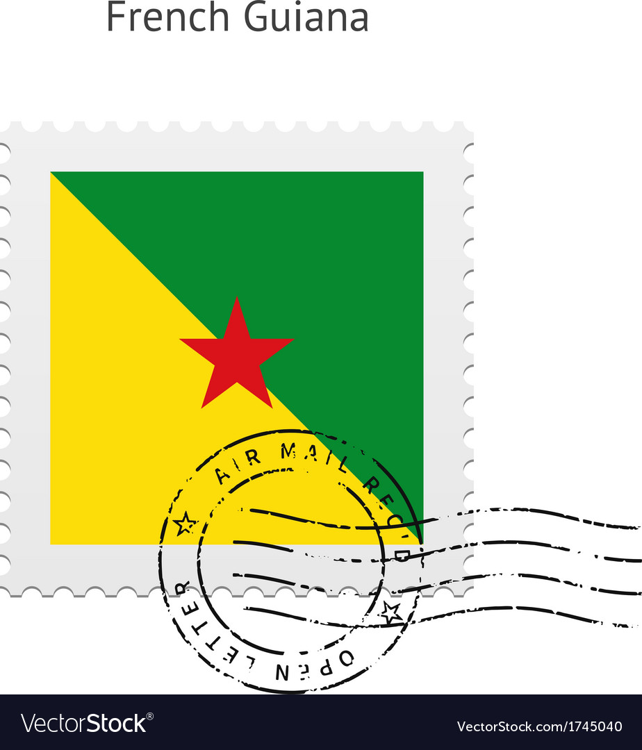French guiana flag postage stamp vector | Price: 1 Credit (USD $1)