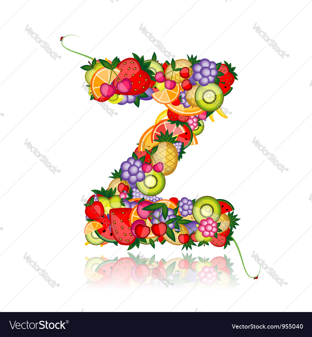 Fruit letter for your design vector | Price: 1 Credit (USD $1)