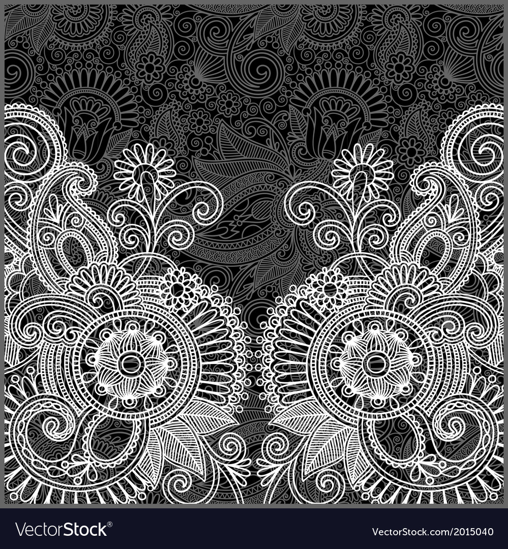 Hand draw ornate black and white floral pattern vector | Price: 1 Credit (USD $1)