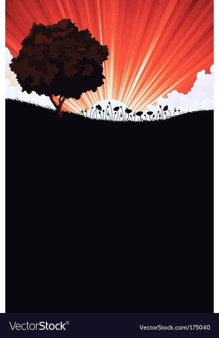 Landscape and sunrise vector | Price: 1 Credit (USD $1)