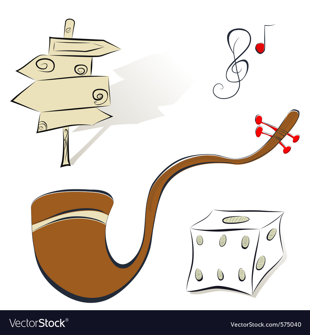 Set of s sign tobacco pipe dice vector | Price: 1 Credit (USD $1)