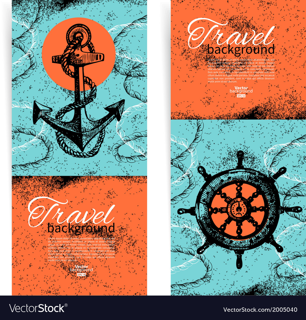 Set of travel vintage banners vector | Price: 1 Credit (USD $1)