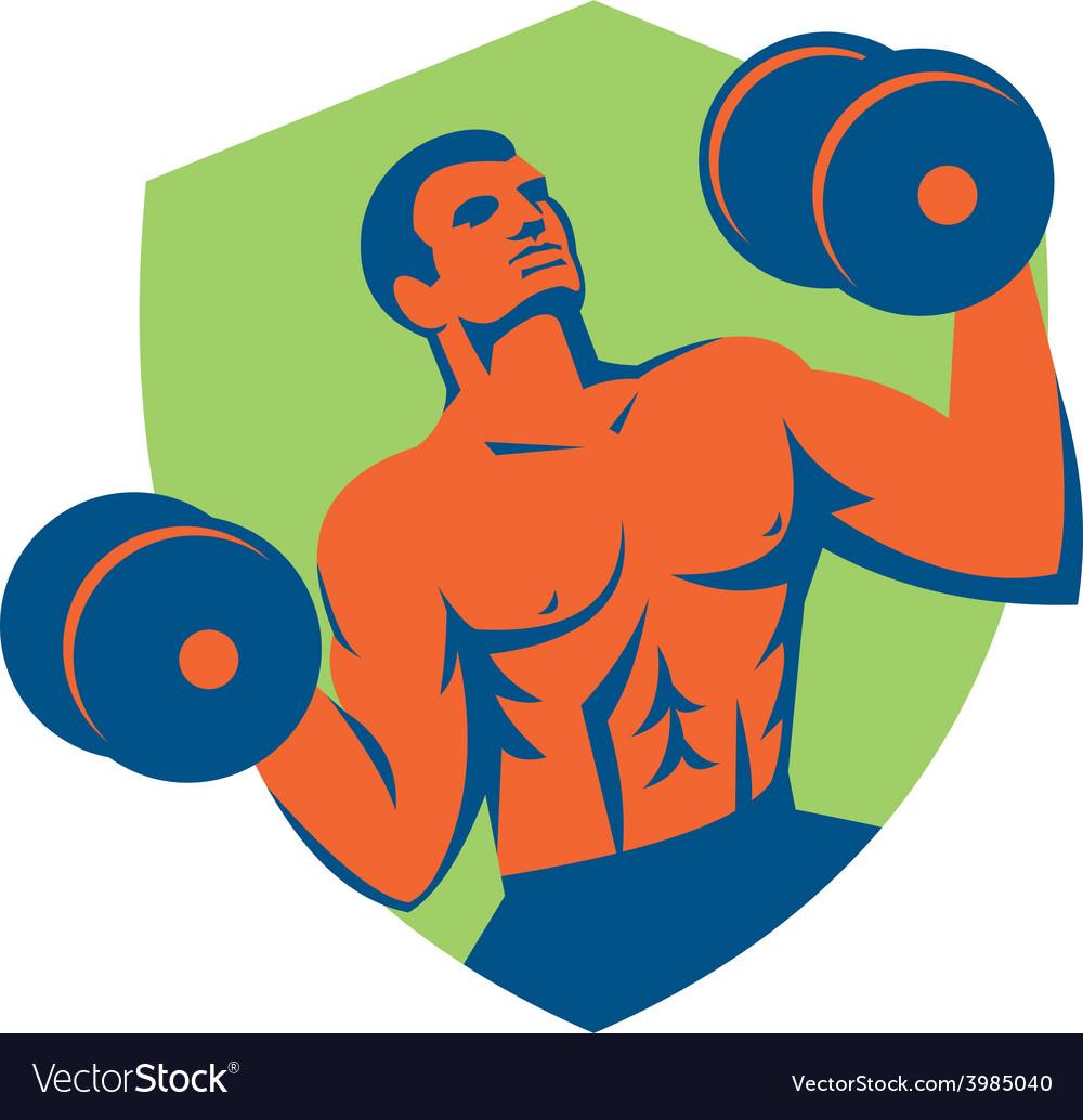 Strongman crossfit lifting dumbbells shield retro vector   Price: 1 Credit (USD $1)