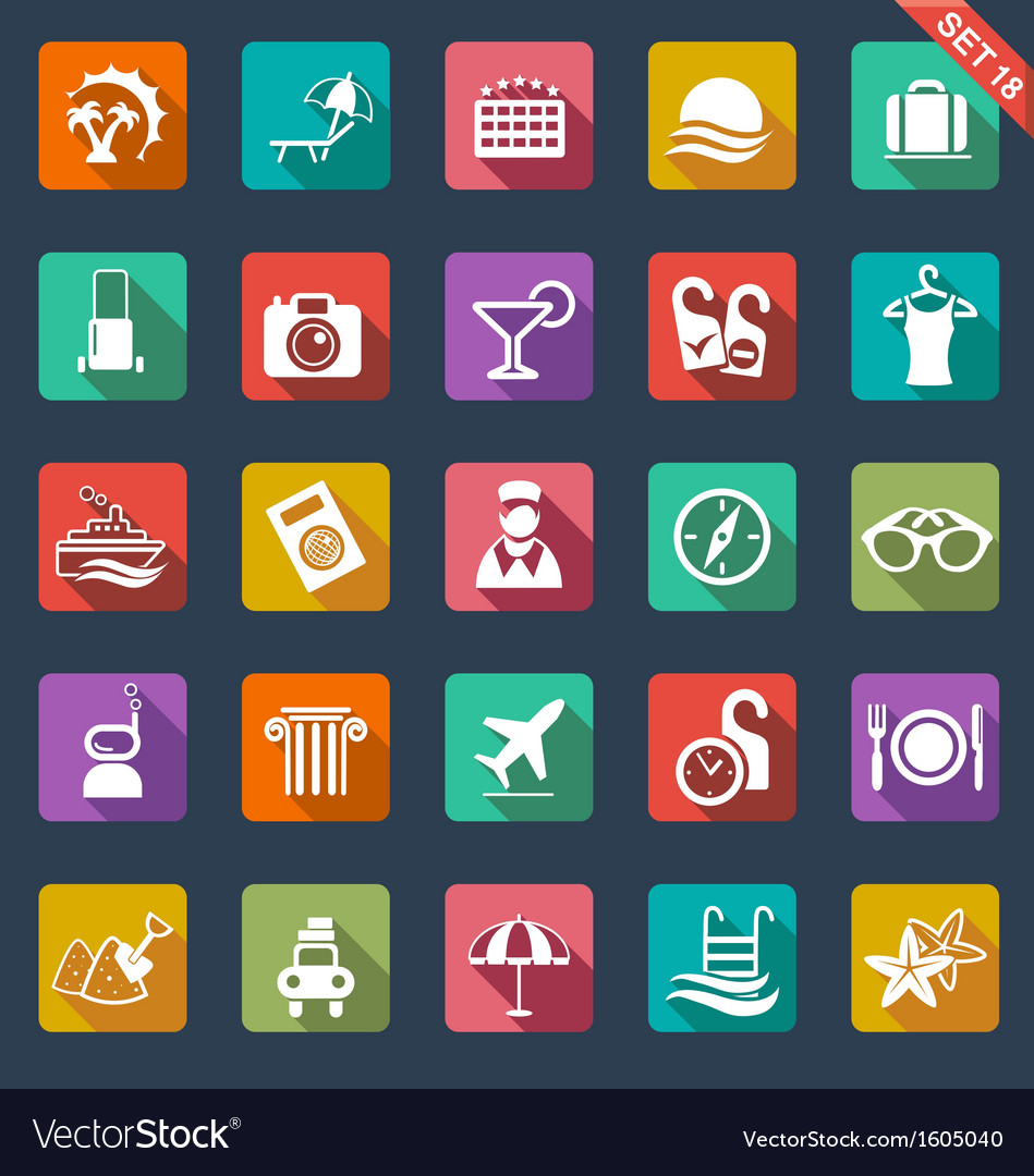 Travel and hotel icons vector | Price: 1 Credit (USD $1)
