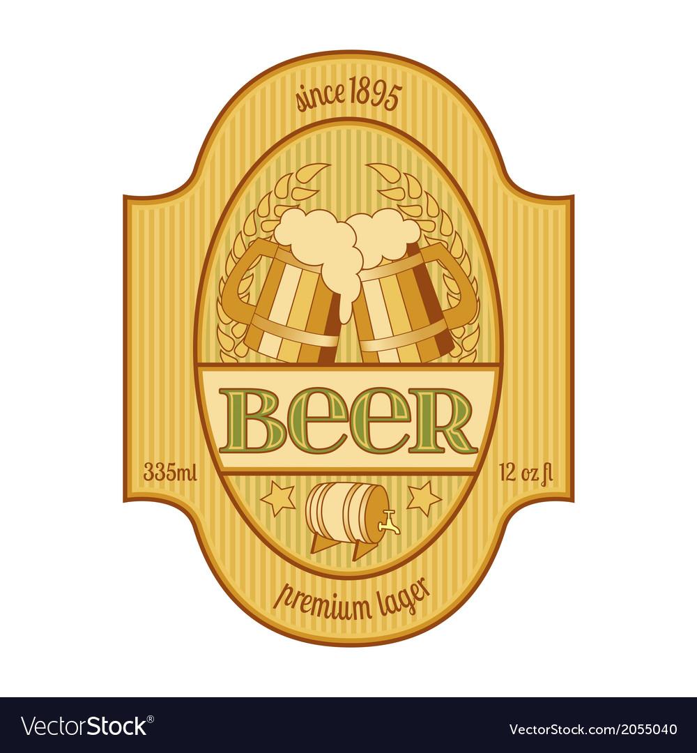 Yellow beer label vector