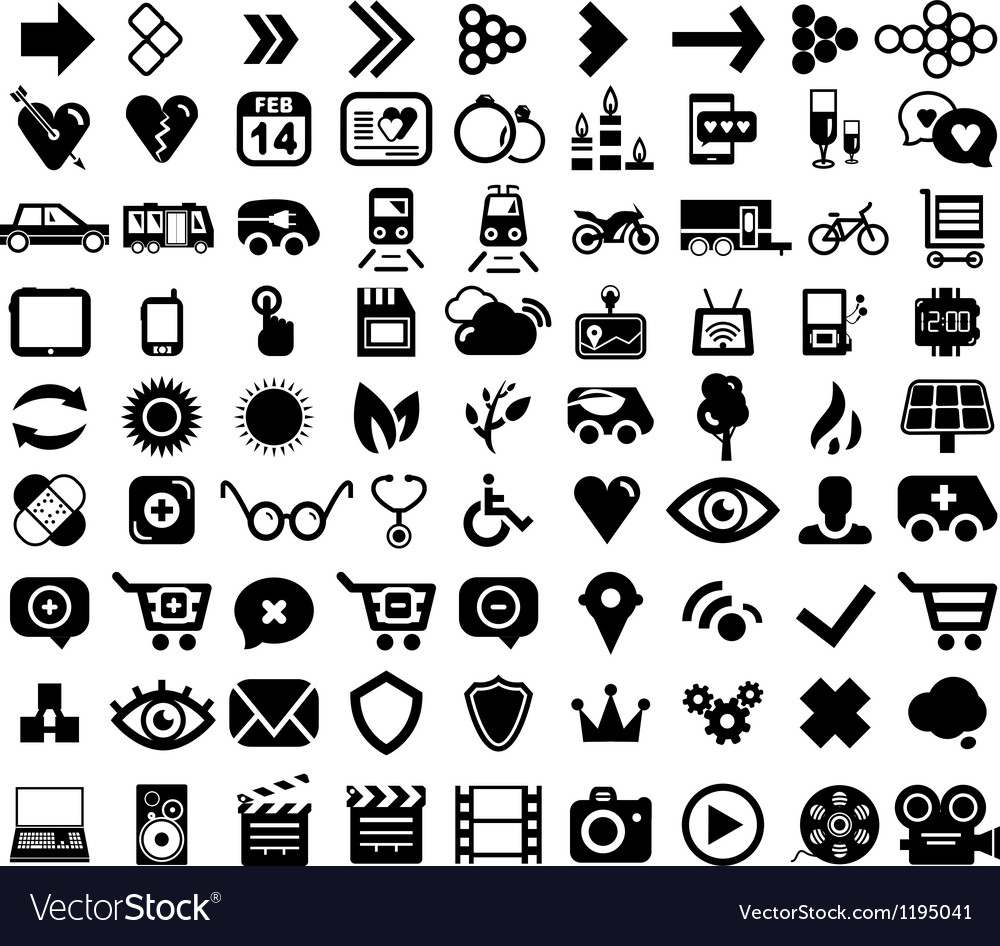 Big set of black universal web icons vector | Price: 1 Credit (USD $1)