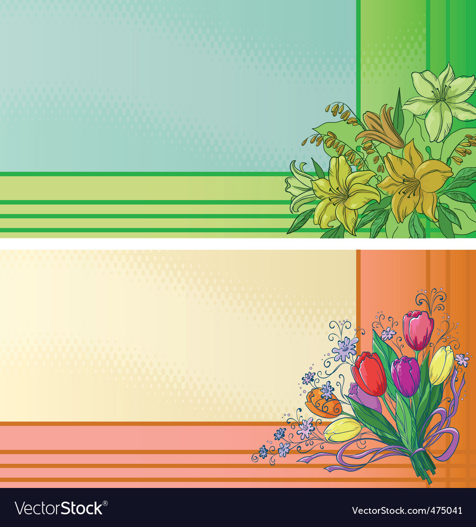 Business cards with flowers vector | Price: 1 Credit (USD $1)