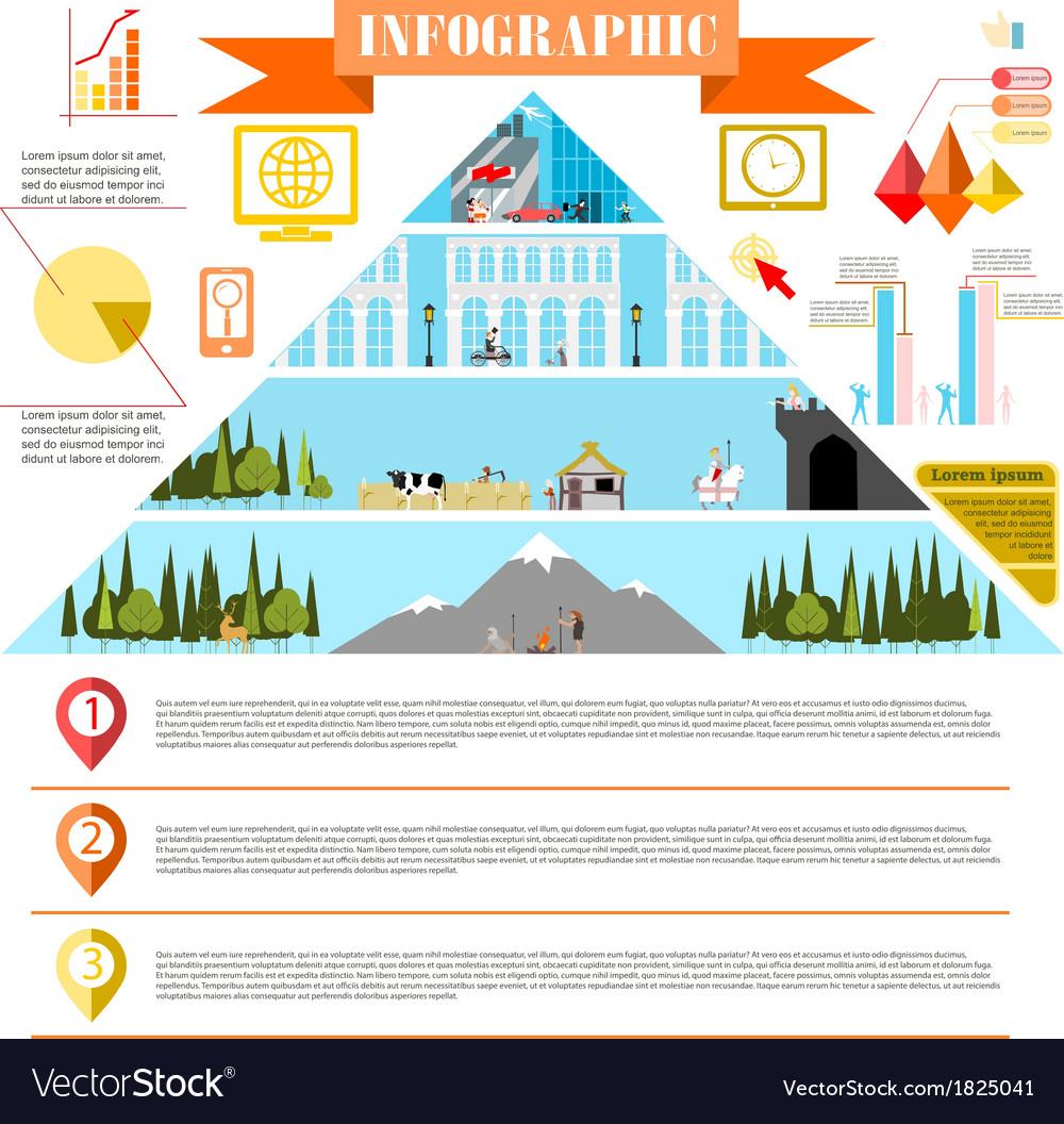 Colorful change of eras infographics development vector | Price: 1 Credit (USD $1)