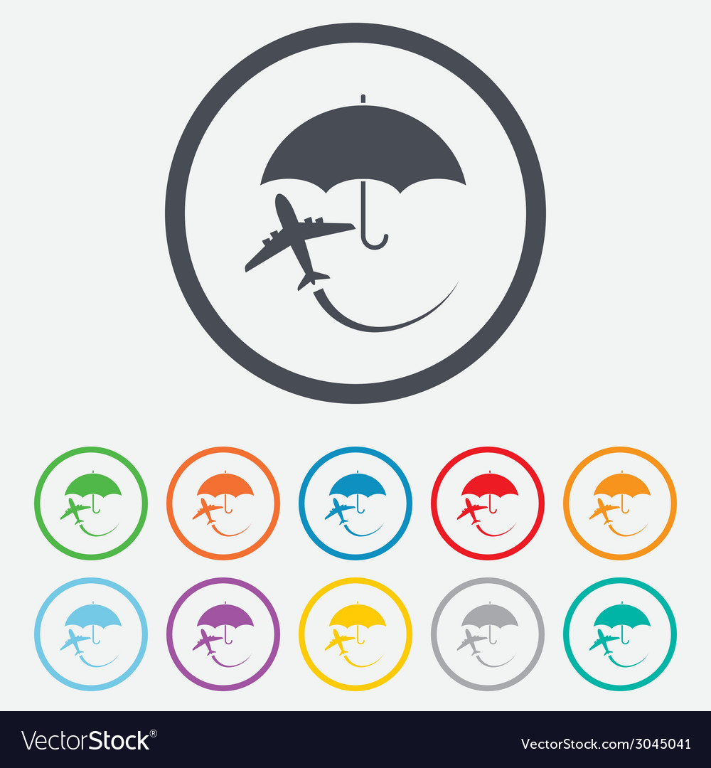 Flight insurance sign icon safe travel symbol vector | Price: 1 Credit (USD $1)