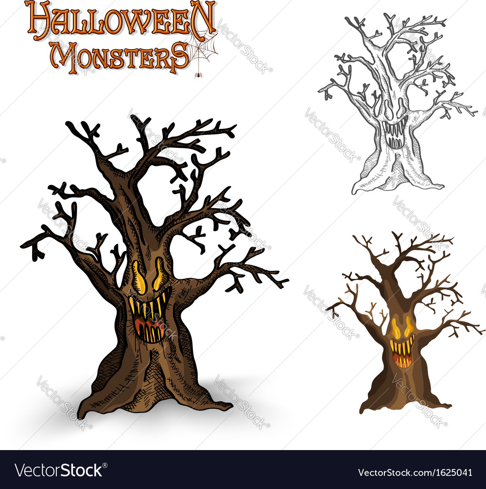Halloween monsters spooky tree eps10 file vector | Price: 1 Credit (USD $1)