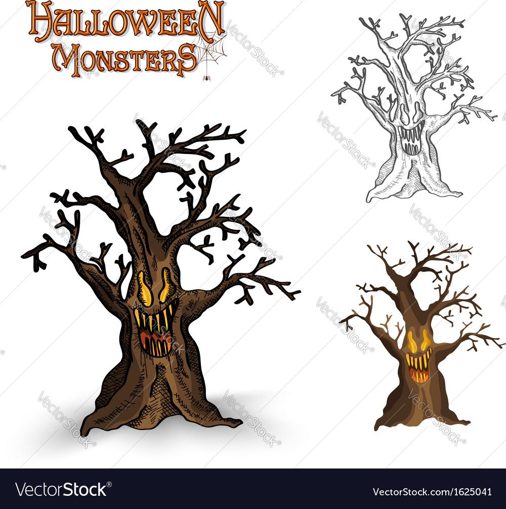 Halloween monsters spooky tree eps10 file vector | Price: 1 Credit (USD $1)