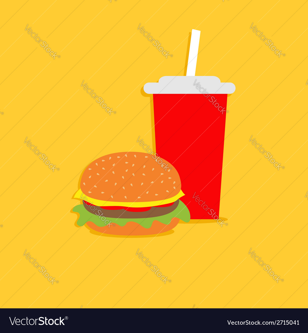 Hamburger and soda with straw cinema icon in flat vector | Price: 1 Credit (USD $1)
