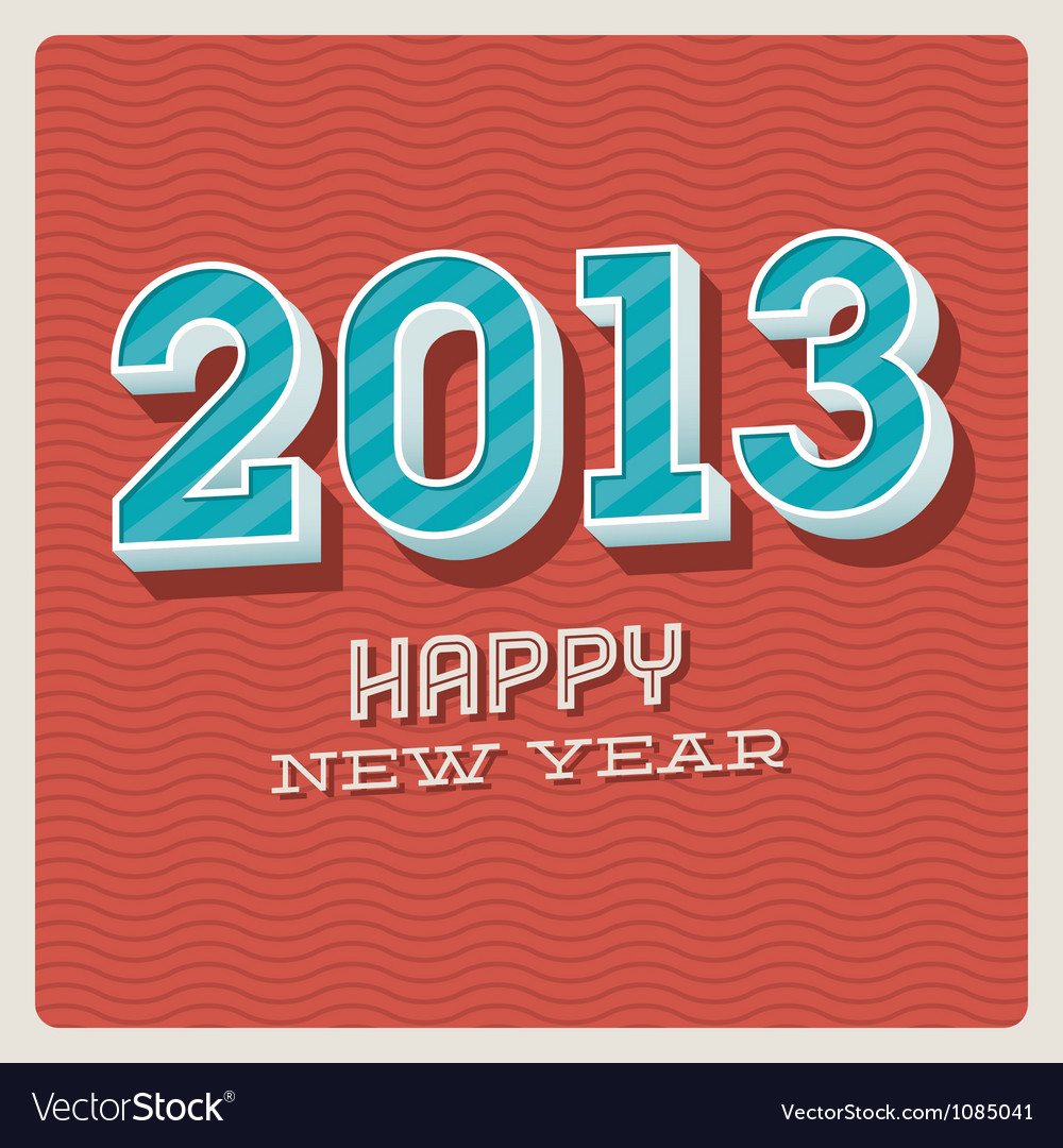 Happy new year 2013 typographic card vector | Price: 1 Credit (USD $1)