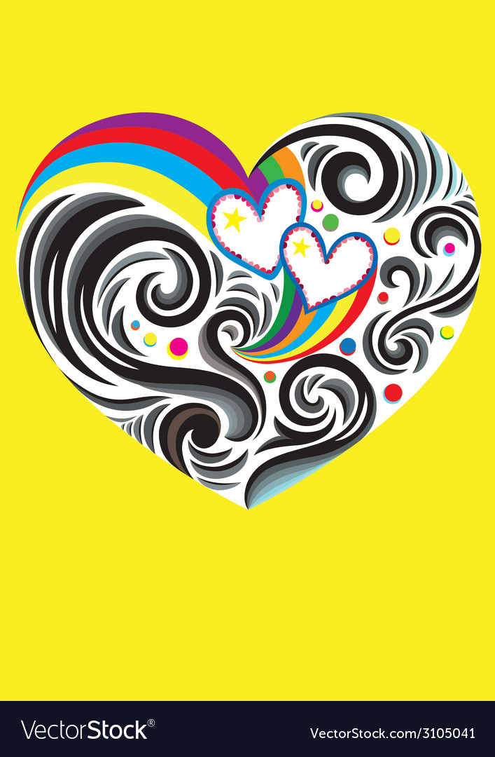 Heart love rainbow vector | Price: 1 Credit (USD $1)