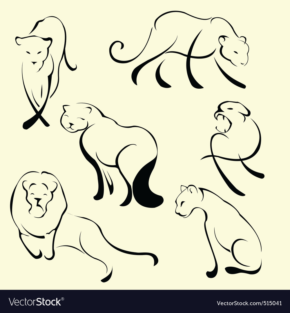 Lion design set vector | Price: 1 Credit (USD $1)
