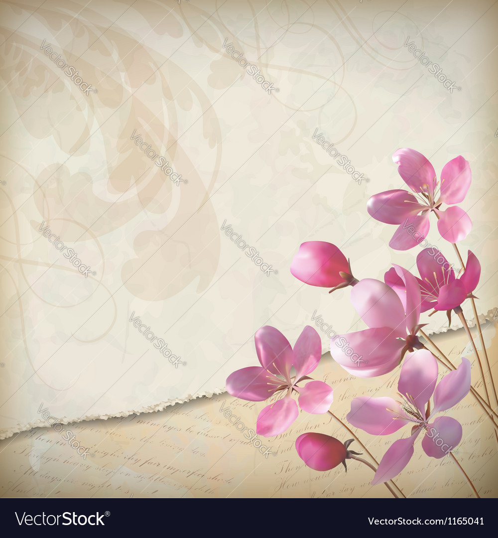 Realistic floral spring grunge background vector | Price: 1 Credit (USD $1)