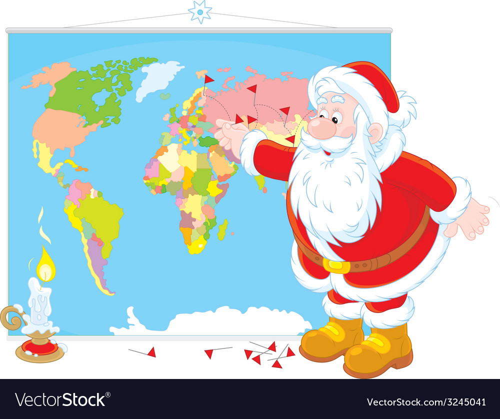 Santa claus with a world map vector | Price: 1 Credit (USD $1)
