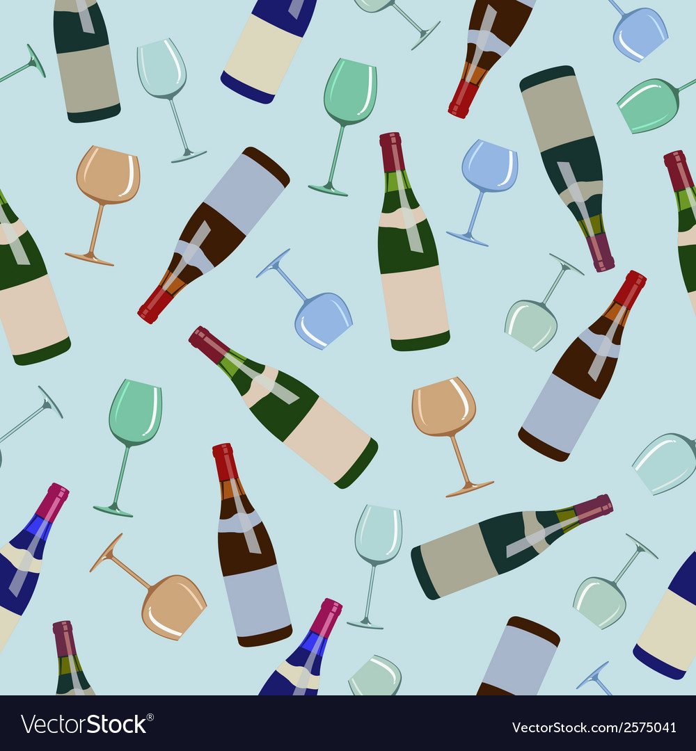 Seamless pattern bottles of wine and glasses vector | Price: 1 Credit (USD $1)