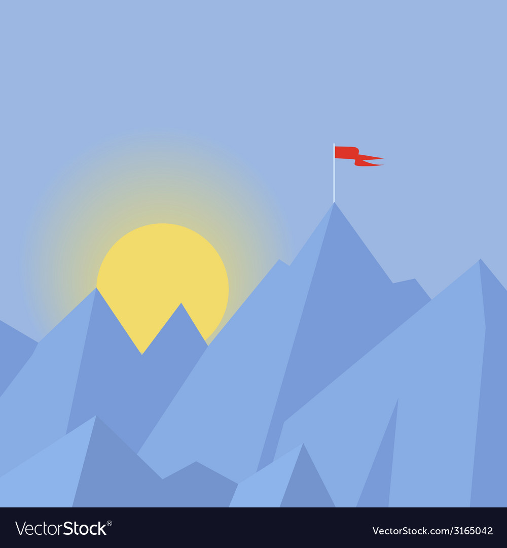 Flat design modern success concept with flag on vector   Price: 1 Credit (USD $1)