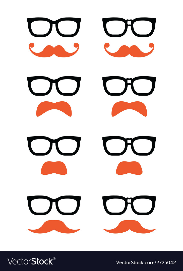 Geek glasses and ginger moustache or mustache icon vector | Price: 1 Credit (USD $1)