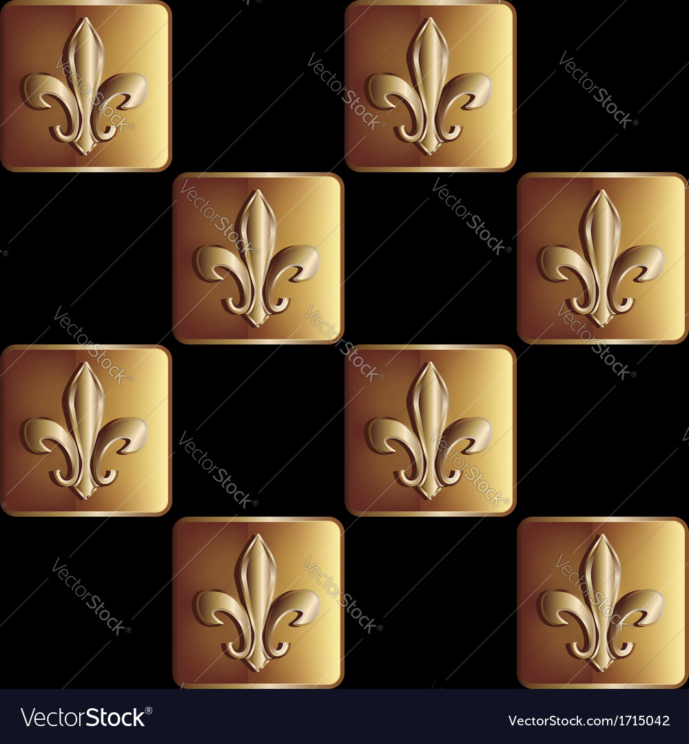 Gold seamless pattern the royal lily vector | Price: 1 Credit (USD $1)