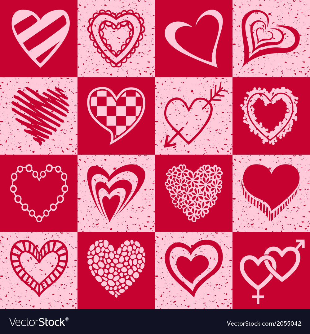 Hearts grunge background pattern vector | Price: 1 Credit (USD $1)