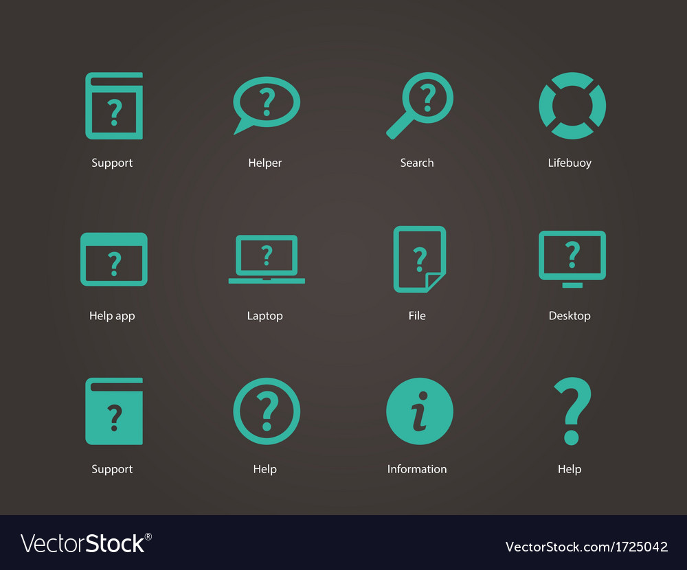 Help and faq icons vector | Price: 1 Credit (USD $1)