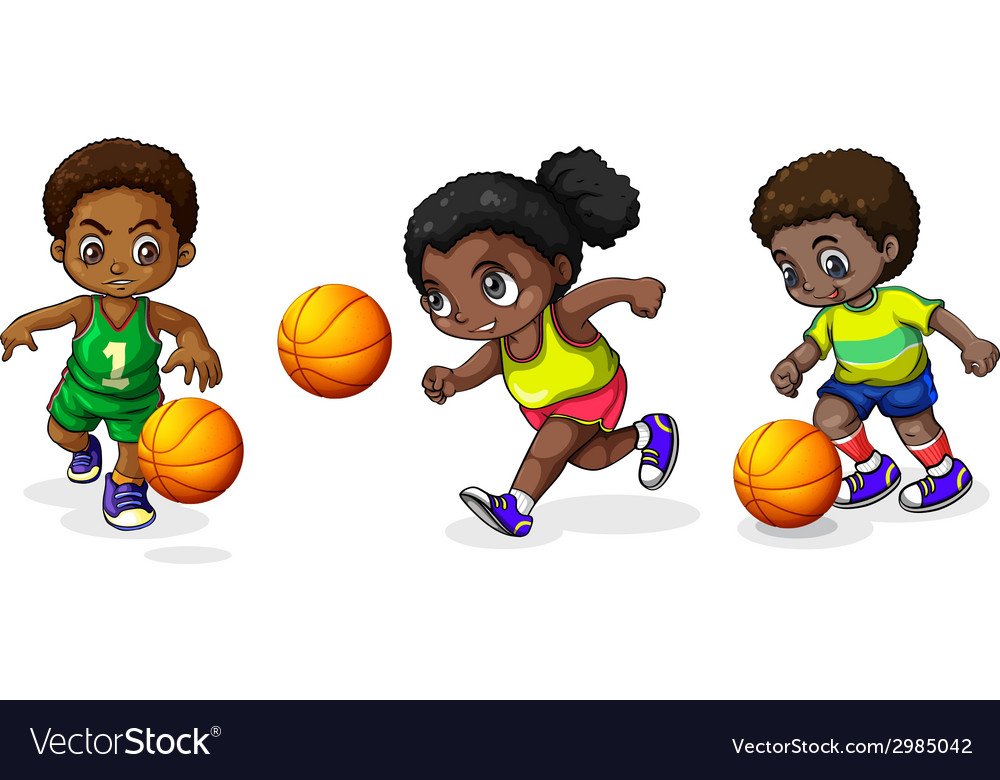Kids playing basketball vector | Price: 1 Credit (USD $1)