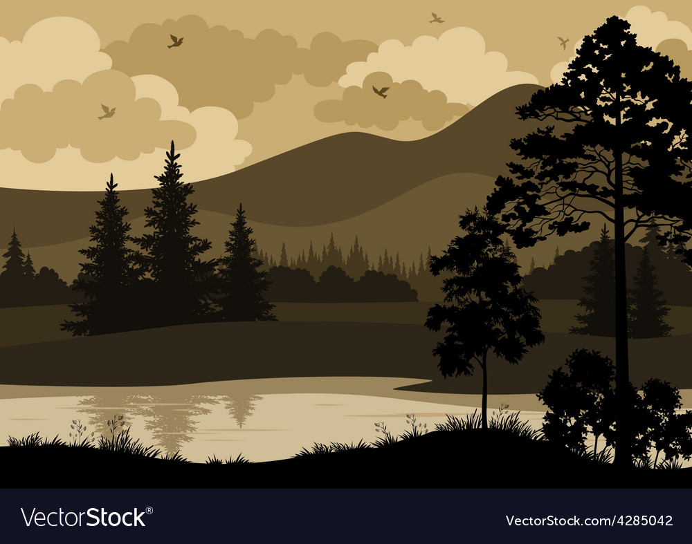 Landscape trees mountains and river vector | Price: 1 Credit (USD $1)