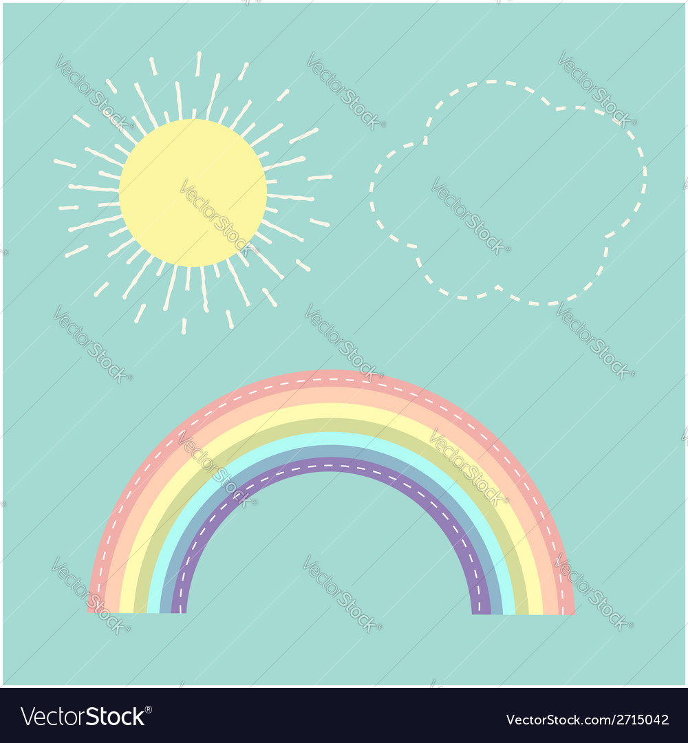 Rainbow sun cloud dash line love card flat design vector | Price: 1 Credit (USD $1)