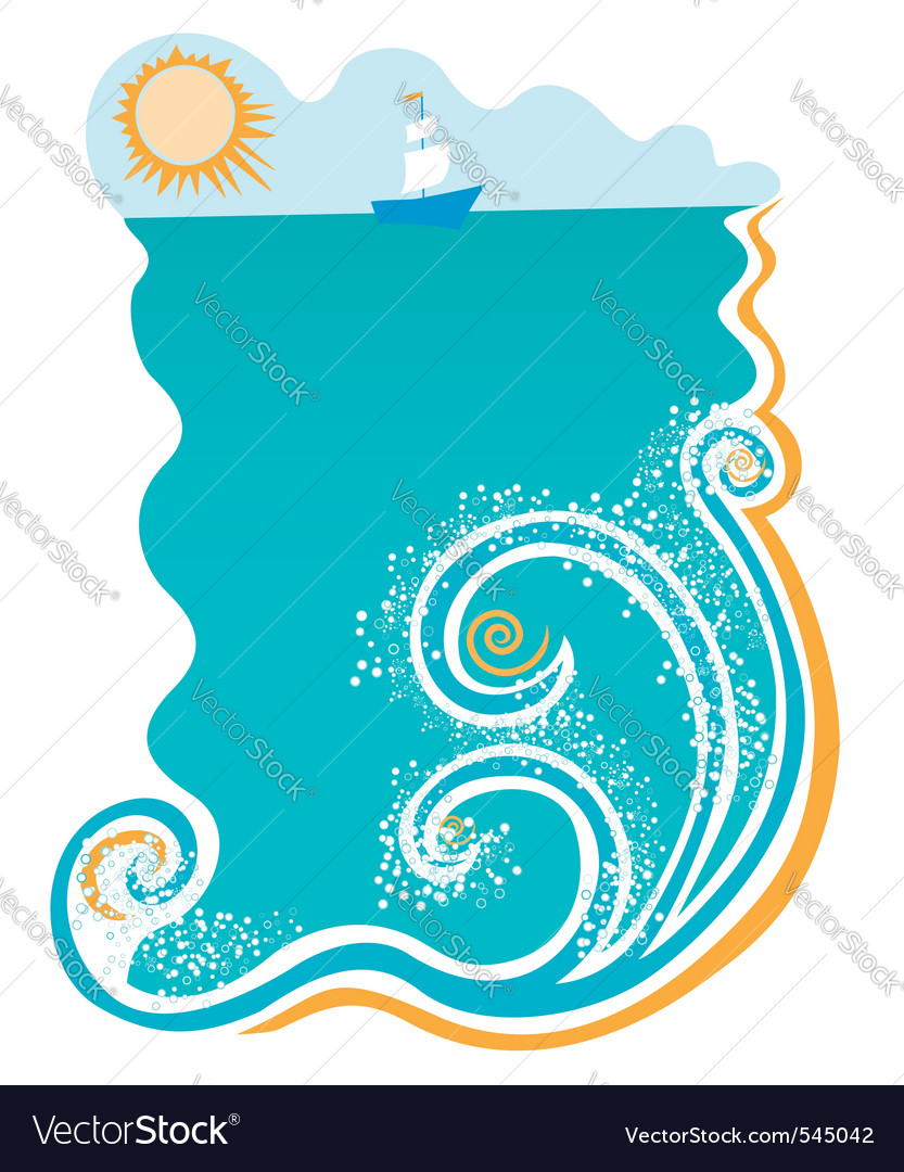 Sea with waves vector | Price: 1 Credit (USD $1)