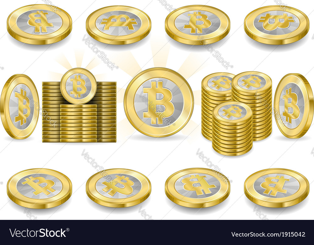 Set of one bitcoins isolated on white vector | Price: 1 Credit (USD $1)