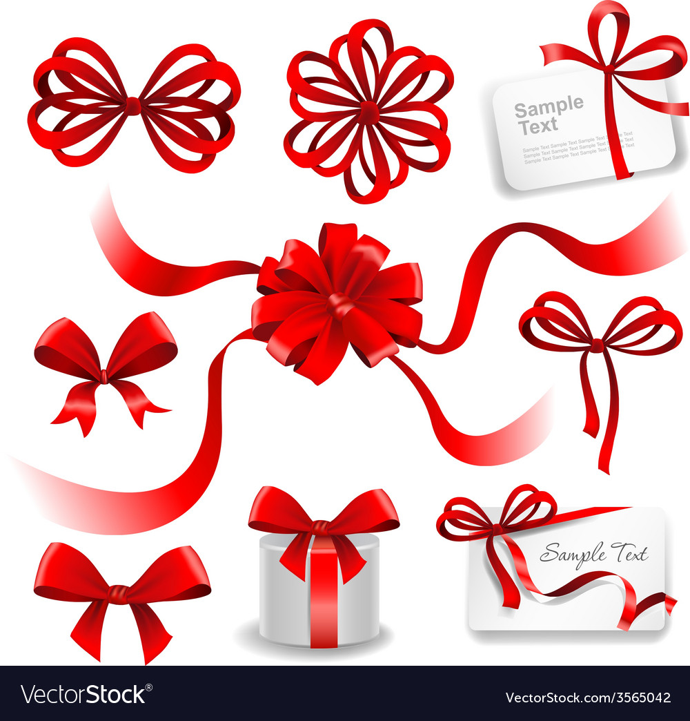 Set of red gift bows with ribbons vector | Price: 3 Credit (USD $3)