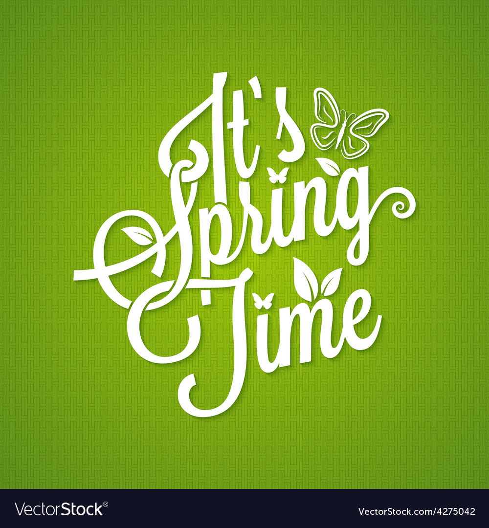 Spring vintage lettering background vector | Price: 1 Credit (USD $1)