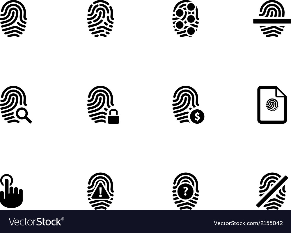 Touch id fingerprint icons on white background vector | Price: 1 Credit (USD $1)