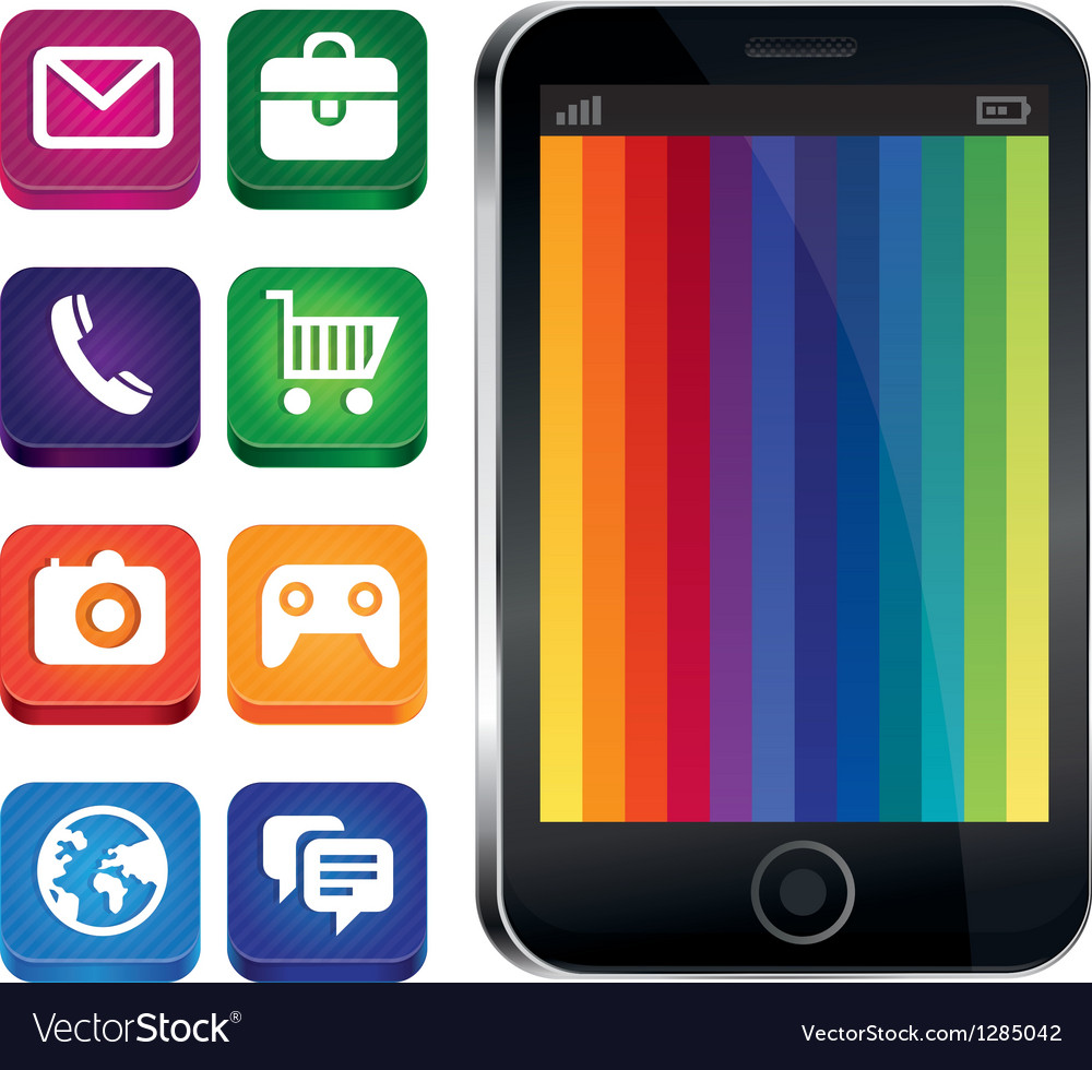 Touchscreen phone with rainbow wallpaper vector | Price: 1 Credit (USD $1)