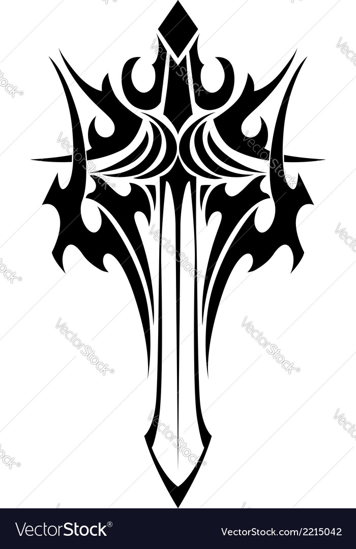 Winged sword tattoo in tribal style vector | Price: 1 Credit (USD $1)