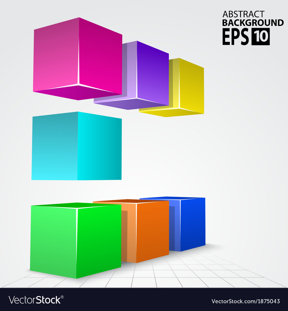 3d colorful cube arc abstract background vector | Price: 1 Credit (USD $1)